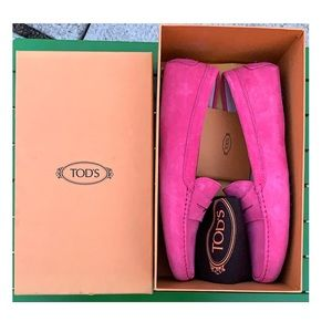 Tod's Shoes Loafers Gommino Driving Mocs 10.5 Pink